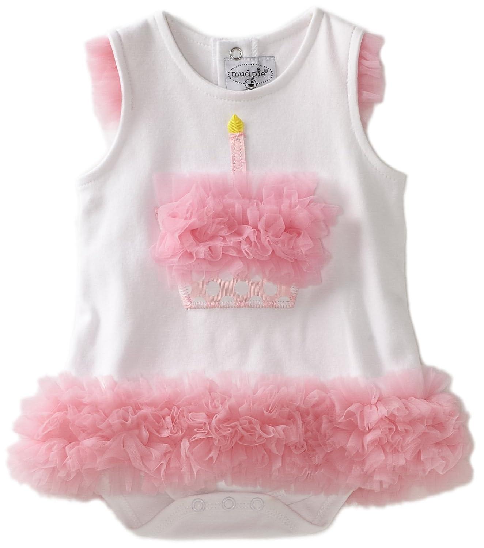 Amazon Mud Pie Baby Cupcake esie Dress white with pink