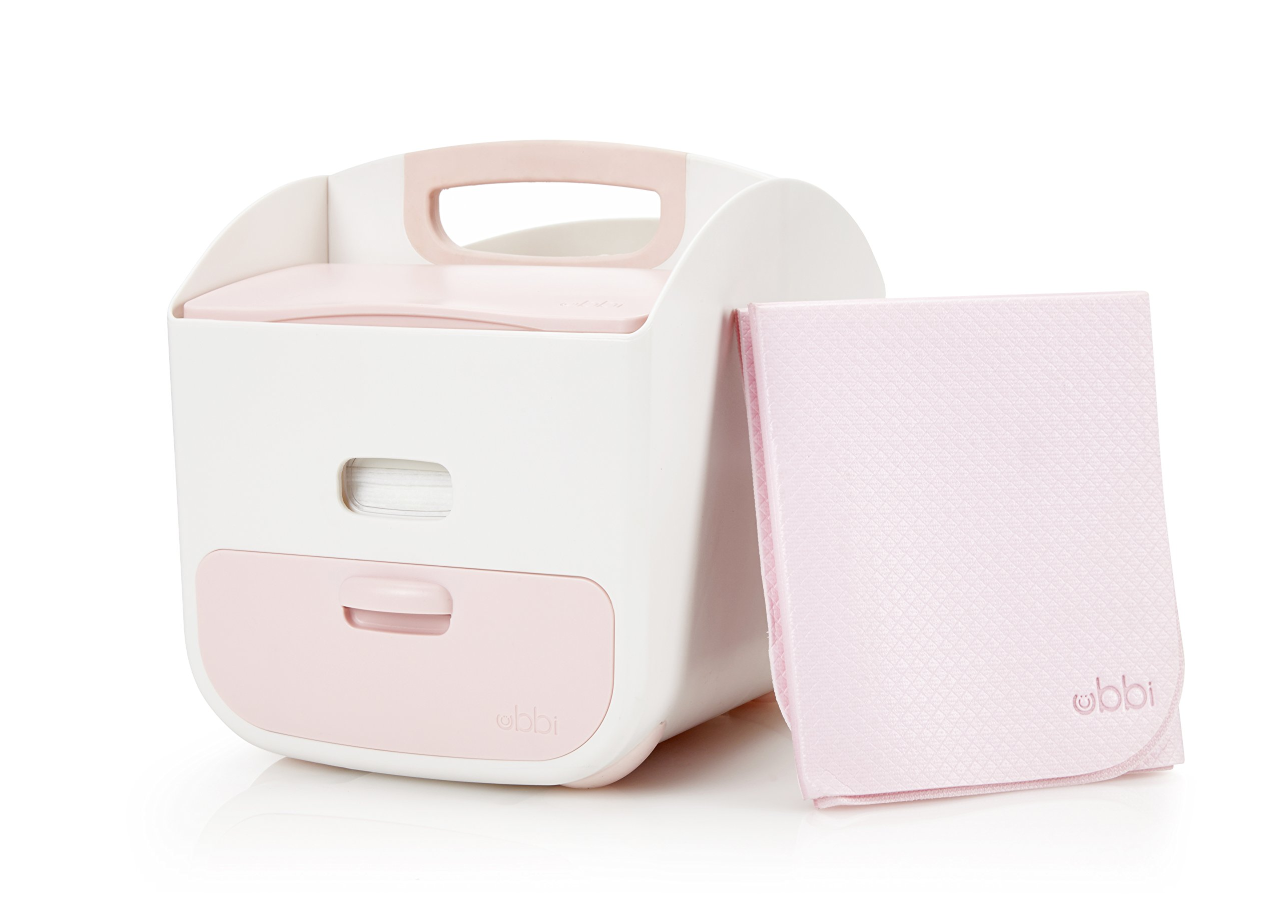 Ubbi Diaper Storage Caddy Wipes Dispenser and Changing Mat Set, Pink