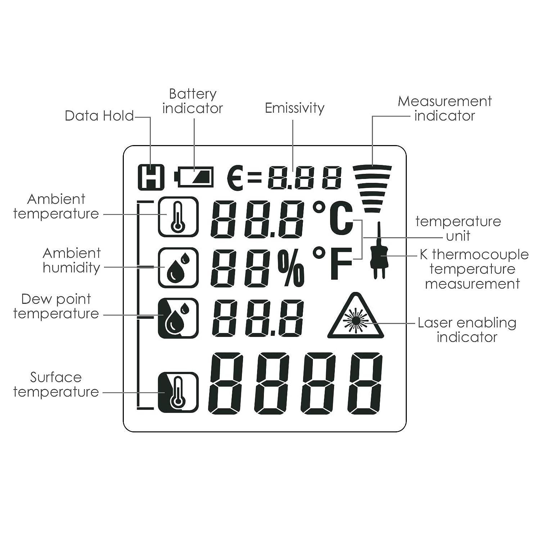 0.5s -50~800 /° C Detecci/ón De Fugas De Luz UV DP Term/ómetro Infrarrojo Sin Contacto 5 En 1 Con Tipo K Temperatura Y Humedad Ambiental Y Temperatura Ambiente