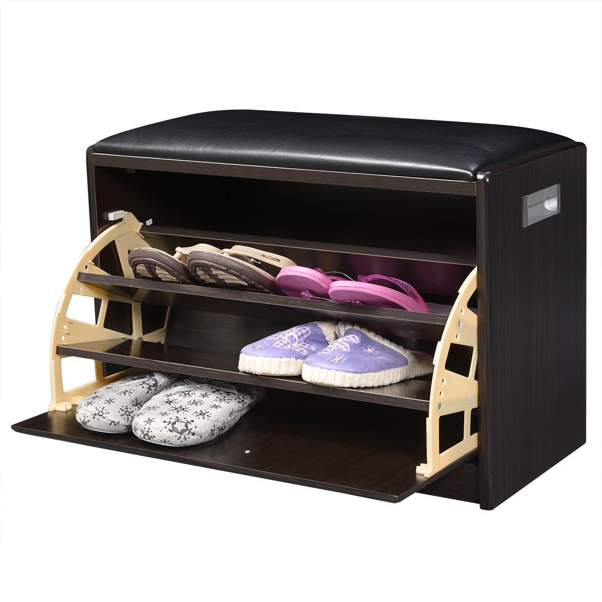 Amazon.com: Giantex Wood Shoe Storage Cabinet Bench Ottoman Closet Shelf  Entryway Pu Leather Seat: Home U0026 Kitchen
