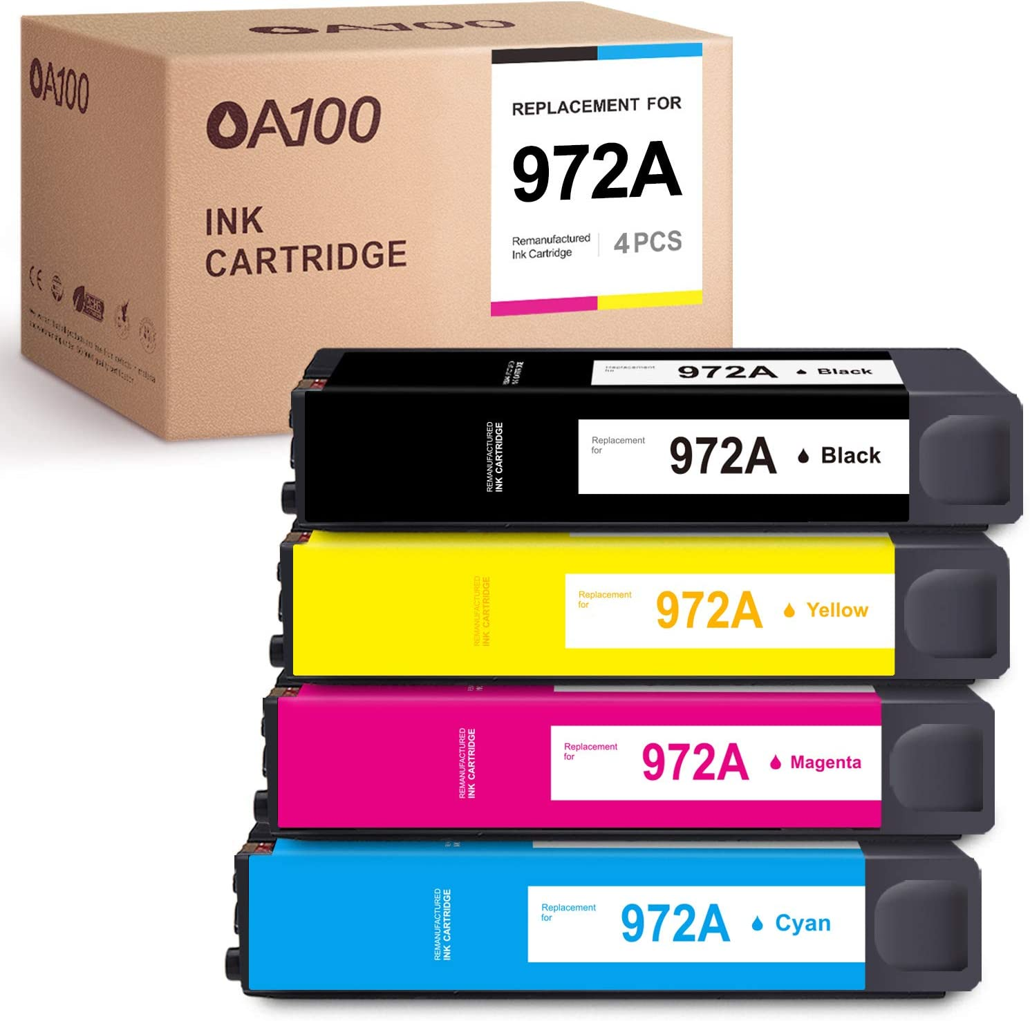 OA100 Remanufactured Ink Cartridges Replacement for HP 972A 972X 972 A for PageWide Pro 452dn 452dw 552dw MFP 477dw 577dw (Black, Cyan, Magenta, Yellow, 4-Pack)
