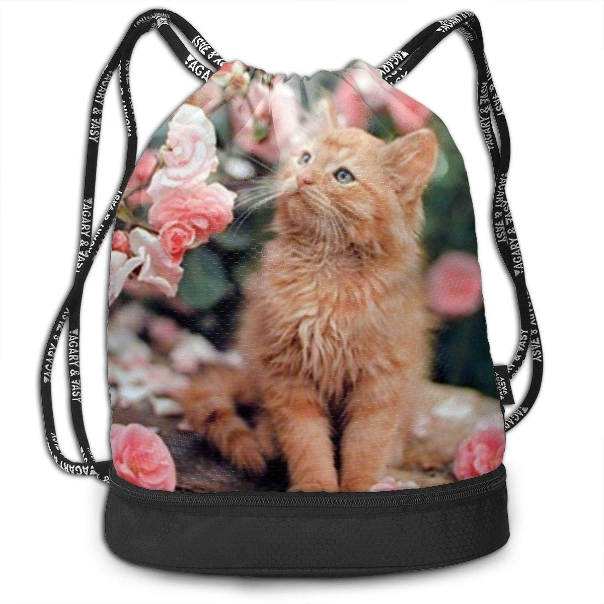Cute Cat La Perm Roses Multifunctional Bundle Backpack Shoulder Bag For Men And Women