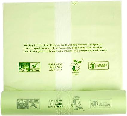 Bolsas de basura compostables de Alina, para alimentos y residuos biodegradables, 8 litros de capacidad, con la guía de compostaje de Alina, 50 bags