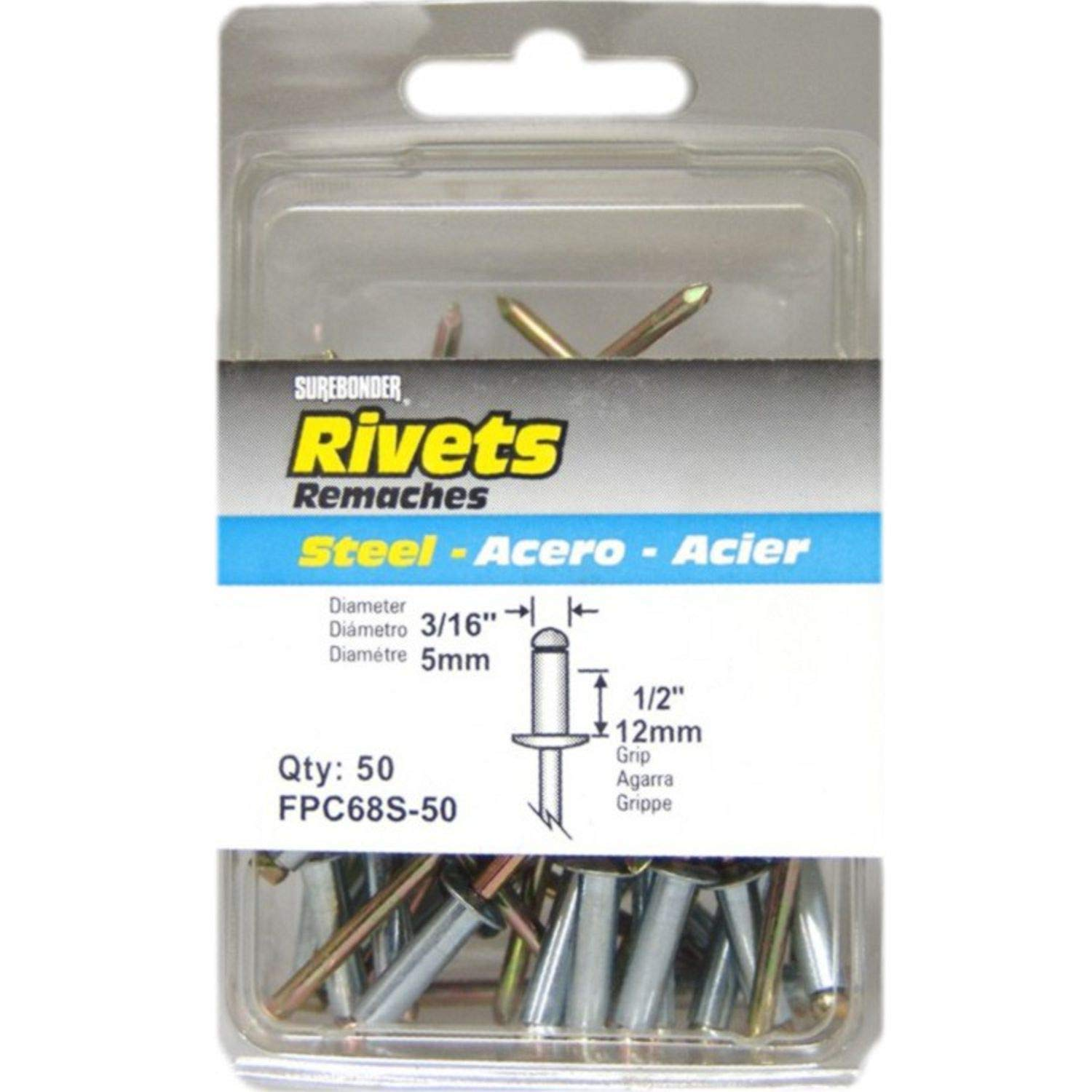 Long Steel Rivets - 3/16'' Diameter, 1/2'' Grip - 12 ct.