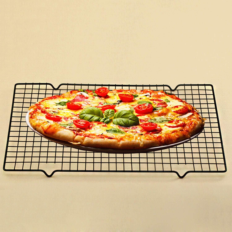 FairytaleMM Home Cucina Accessori da Forno Easy Clean Antiaderente Rack di Raffreddamento a griglia Griglia di Cottura Biscotto Torta di Essiccazione Stand, Nero, L