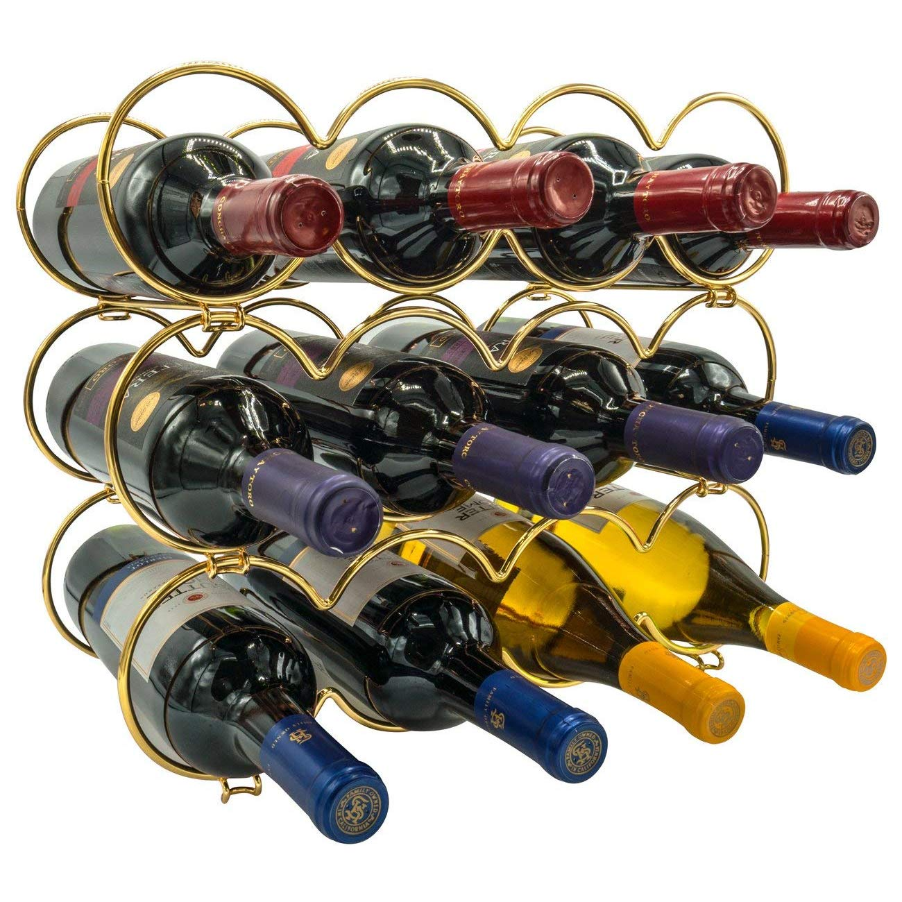 Sorbus 3-Tier Stackable Wine Rack - Round Classic Style Wine Racks for Bottles - Perfect for Bar, Wine Cellar, Basement, Cabinet, Pantry, etc - Hold 12 Bottles, Metal (Round Gold)