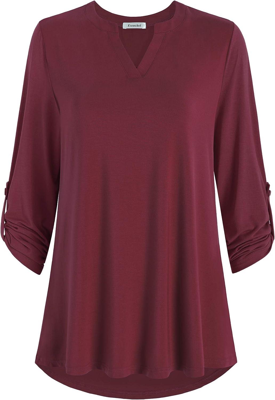 Esenchel Womens 3//4 Roll Sleeve Tunic Top Notch Neck Blouse