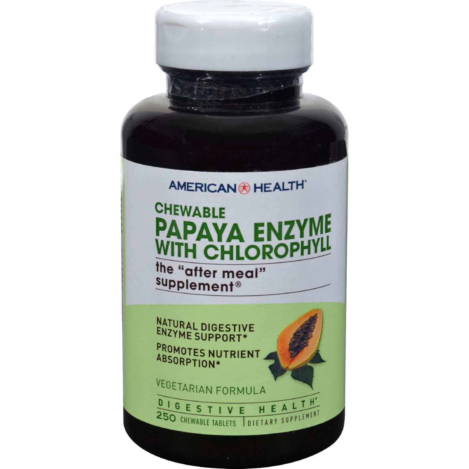 American Health Papaya Enzyme with Chlorophyll Chewable - After Meal Supplement - 250 Vegetarian Tablets (Pack of 2) by American Health