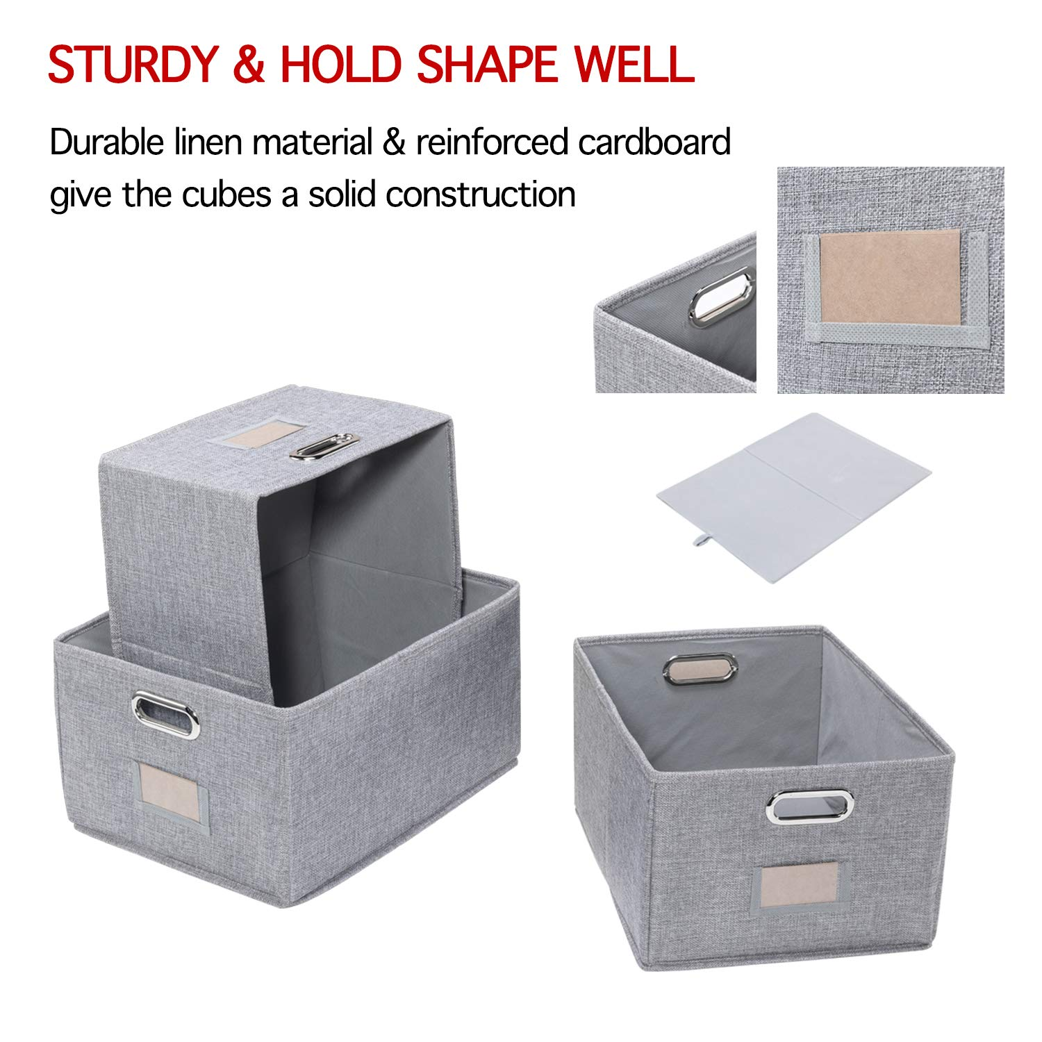 Foldable Cloth Organizer Bins with Handles for Home Closet Bedroom Drawers Organizers 3 Organizer Baskets Bins for Shelves 15.7x11.8x8.3 inches Large Storage Baskets Closet Bins with Labels