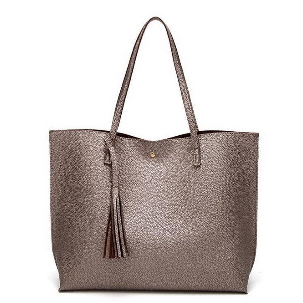 Jiaruo Brand Luxury Tassel Pendant Design PU Women Leather Shoulder bags Large Tote (Cinnamon)