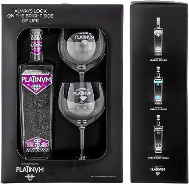 Pack London Dry Gin Platinvm con Plata y dos copas 70cl.: Amazon.es: Alimentación y bebidas