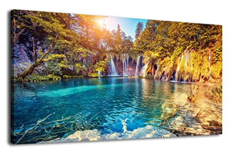 arteWOODS Canvas Wall Art Waterfall Lake Painting Nature Pictures Long Canvas Artwork Plitvice Lakes Colorful Wall Art for Home Office Decoration Framed Ready to Hang 20 x 40
