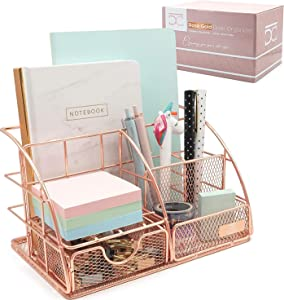 The Darcy Company Rose Gold Desk Organizer for Women, Mesh All in One Desktop Organization for Office Supplies and Accessories - Aesthetic Storage Home and Office Decor, Pen, Pencil and Paper Holder