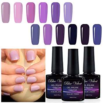 Amazon.com : Gel Polish Set Blue Velvet 12pcs Soak Off UV LED Purple ...