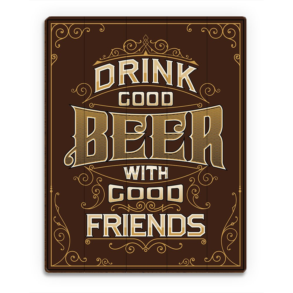 Drink Goodビールwith Good Friends – ブラウンヴィンテージバーパブサイン壁アート印刷 9x12 BEE0000041PLK09X12XXX 9x12 ウッド B01LOUX3TO