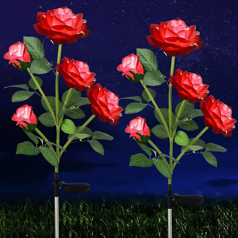 Solar Rose Flower Lights, 10 Roses Solar Flowers Lights Outdoor Garden Waterproof 2 Pack, Solar Decorative Lights for Patio Pathway Courtyard Garden Lawn, Red, HELESIN