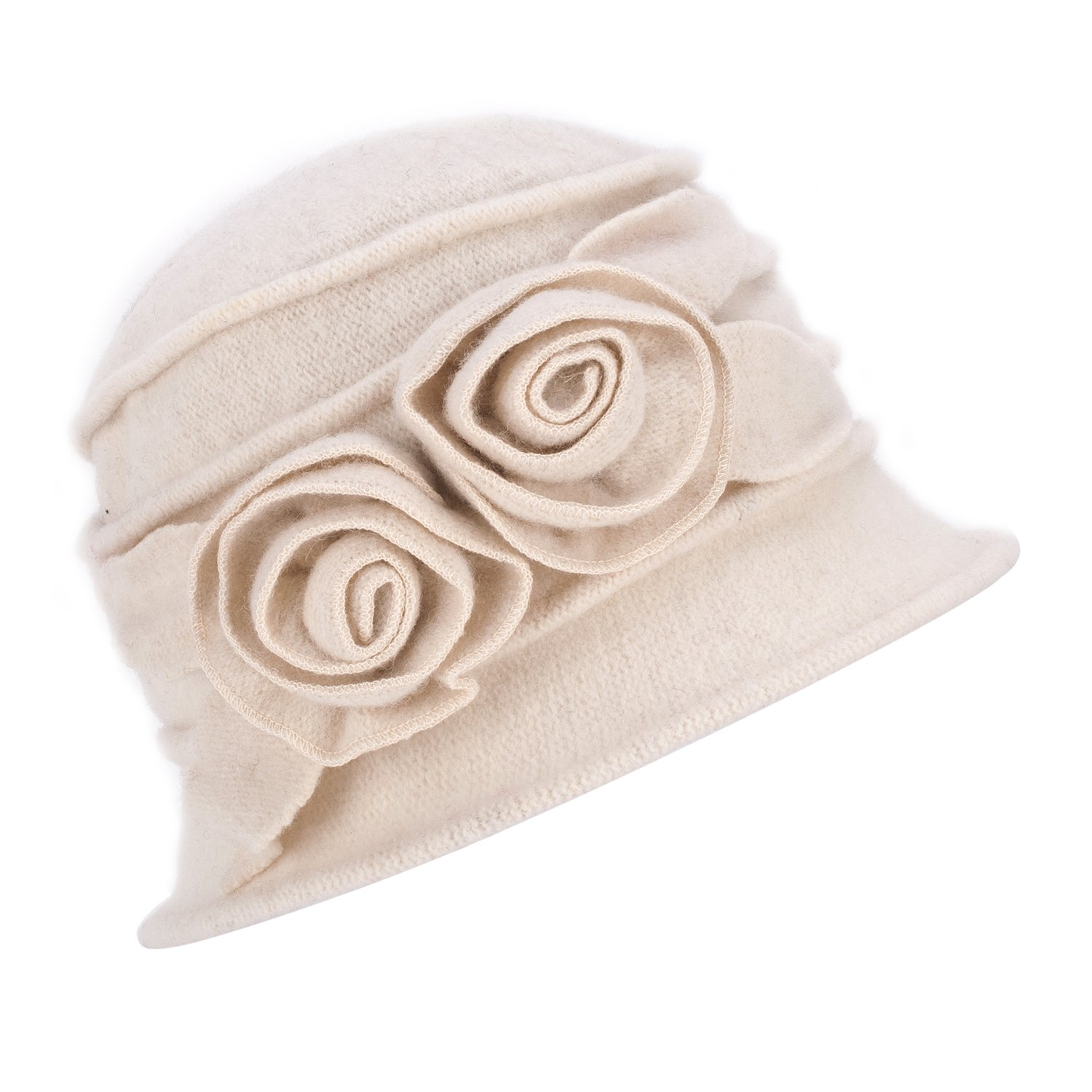 Lawliet 1920s Gatsby Womens Flower Wool Warm Beanie Bow Hat Cap Crushable A287 (White)