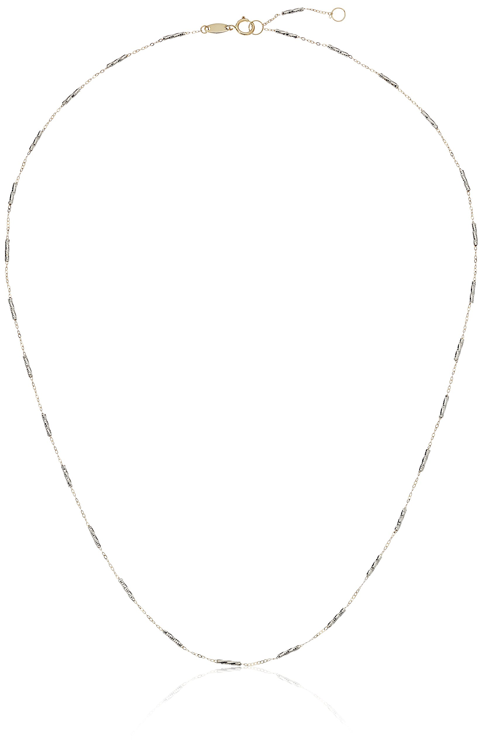 14k White and Yellow Gold Necklace, 17'' + 1.5'' Extender