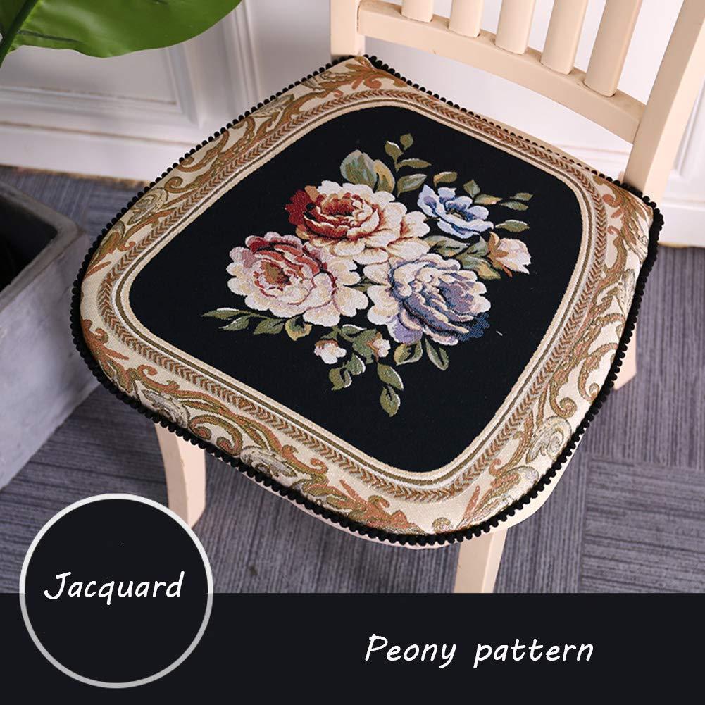 European Chair pad,Jacquard Chair Cushion Floral Non Slip Living Room Vintage seat sushion Square Breathable Cushion -A 48x46cm(19x18inch) DDGOD