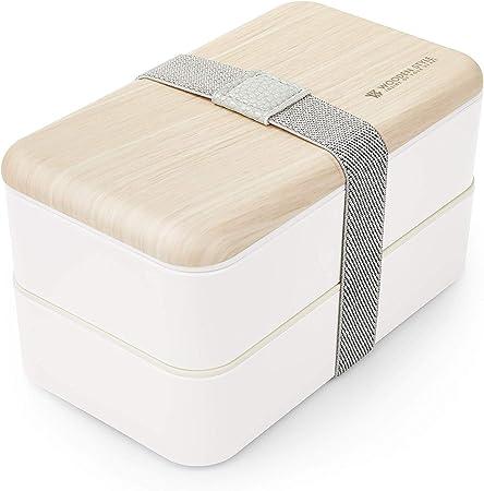 Thousanday Fiambrera Bento Bambú Blanco | Tupper Design con 2 Cubiertos | Bento Box 2 Compartimentos Estancos 1200 ml | Microondas y Lavavajillas | Bento Box Adultos o Niños: Amazon.es: Hogar