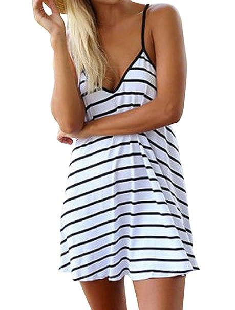 Mujer Casual Vestidos de Playa Rayas Hombro Verano Mini Vestido Fiesta Eventos Bohemio Vestir de Cabestro