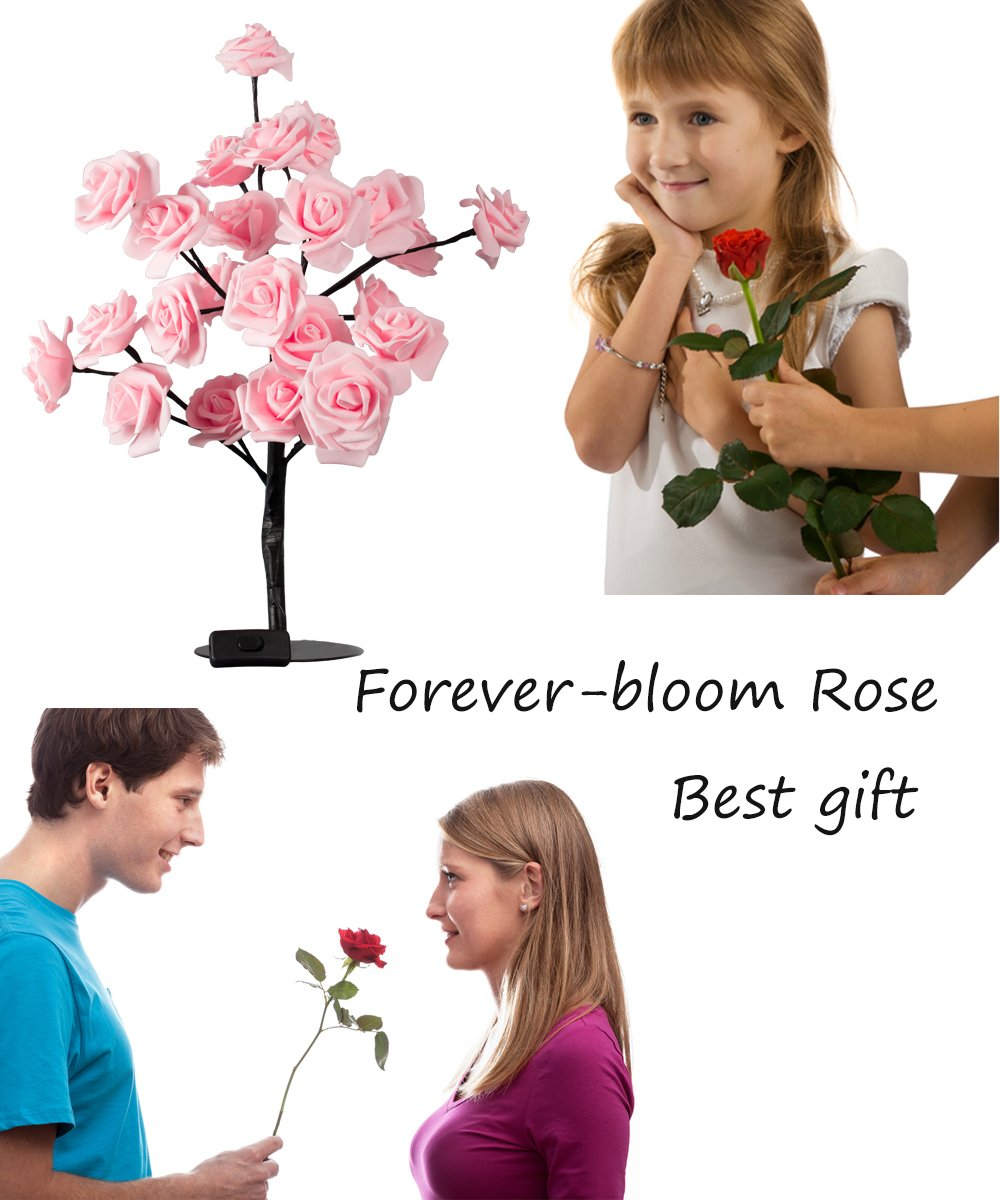 Table Lamp Desk Light 24LEDs UL listed Flower Rose Tree Home Decor Gift For Women Men Kids Teens Decoration For Home Party Wedding Christmas Indoor Outdoor
