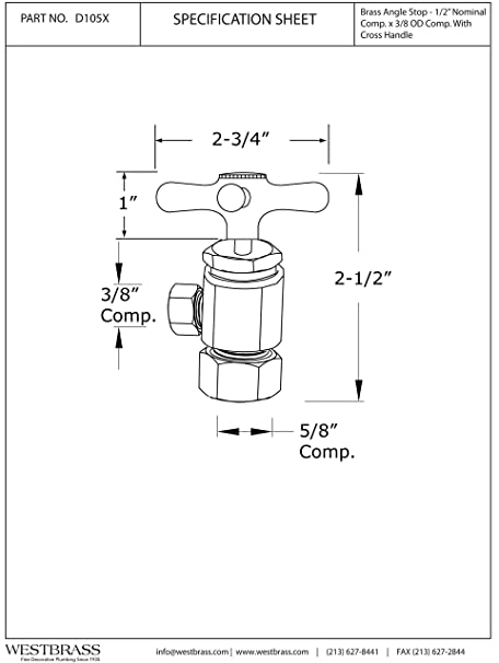 Westbrass Cross Handle Angle Stop Shut Off Valve 12 Copper Pipe