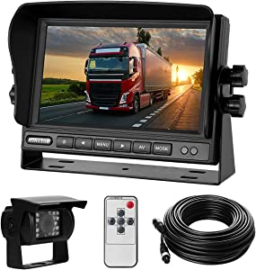 """Backup Camera System Kit 7"""" LCD Reversing Monitor+170 ° Wide Angle, 18 IR Night Vision,IP68 Waterproof Rear View Back Up Camera for Truck/RV/Trailer/Bus/Vans/Vehicle."""