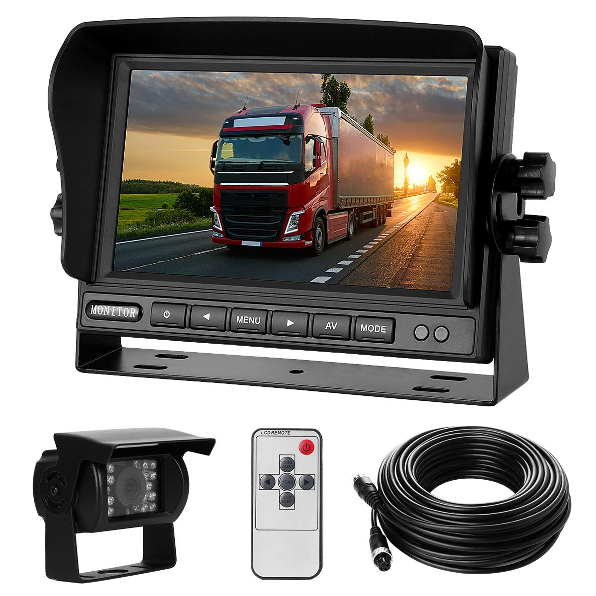 Backup Camera System Kit 7'' LCD Reversing Monitor+170 ° Wide Angle, 18 IR Night Vision,IP68 Waterproof Rear View Back Up Camera for Truck/RV/Trailer/Bus/Vans/Vehicle.