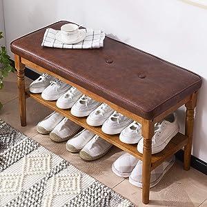 "OGCAU Shoe Rack Bench Wooden Shoe Storage Bench Entryway with Storage Bench for Bedroom, Living Room, Hallway, Garage(Walnut 32"")"