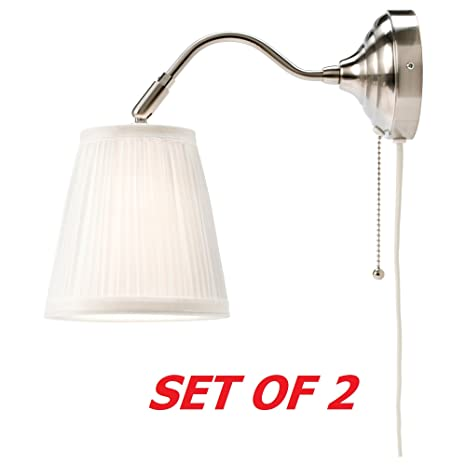 Ikea arstid wall lamp sconce white 2 pack corded plug in