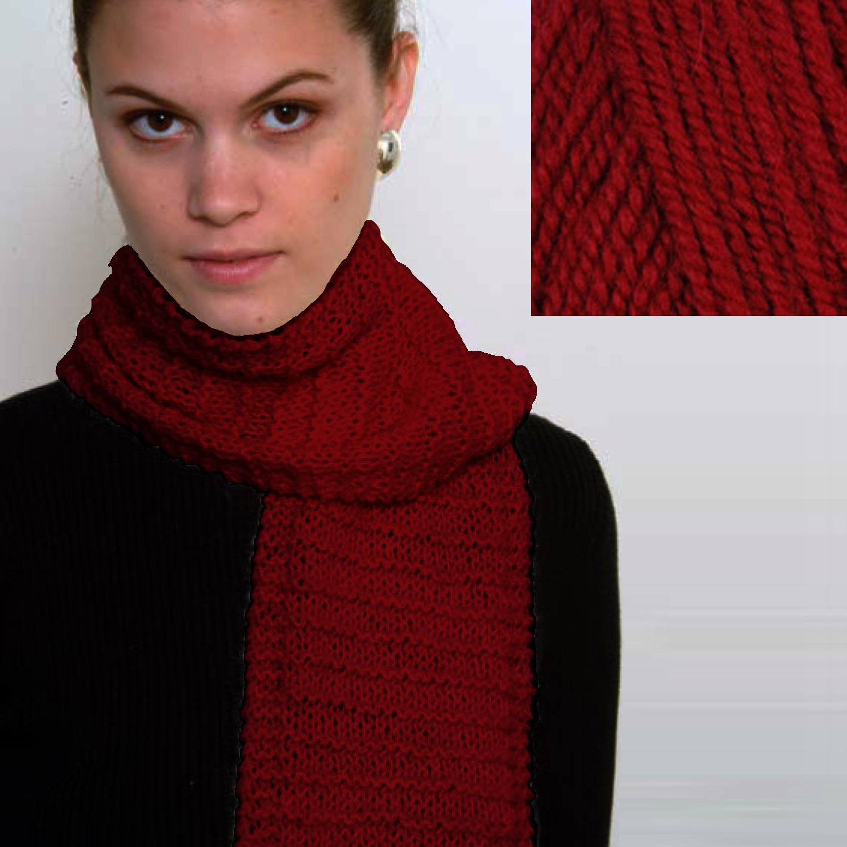 ''Beginner's Scarf'' Knit Kit with Encore Worsted Yarn - CRANBERRY