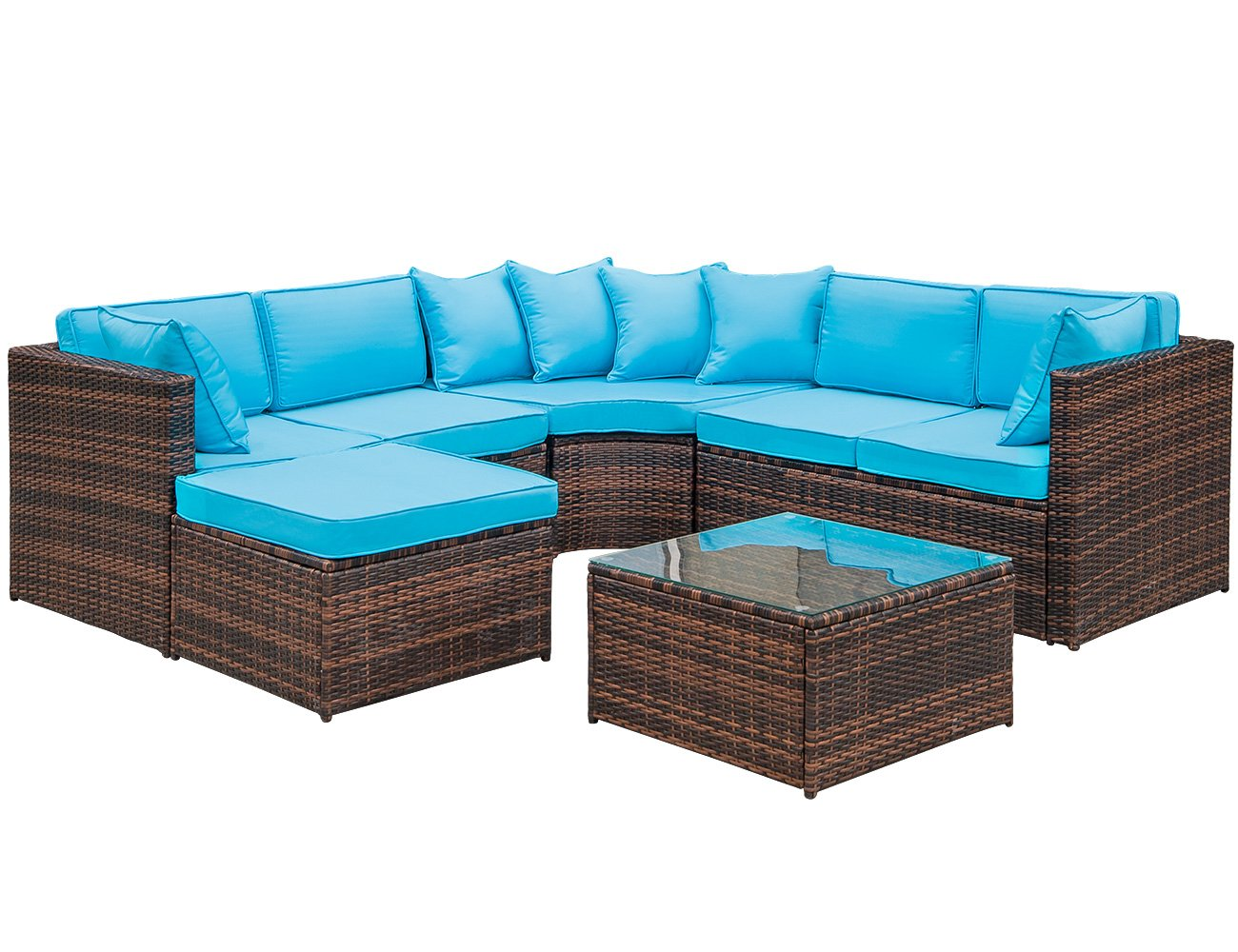 LZ LEISURE ZONE 5-Piece Patio Furniture Set Outdoor Wicker Sofa Sectional Conversation Set with Blue Cushions - This wicker Sectional Sofa Set includes 1 x corner sofa -2 x loveseat -1 x ottoman-1 x tea table with clear tempered glass -6x seat cushions -4 x back cushions-6x pillows The cambered sectional sofa design provides more seating area with which you may entertain more guests Crafted of high quality PE rattan and powder coated steel frame ensure your sofa for years to come - patio-furniture, patio, conversation-sets - 71JrBdL03sL -