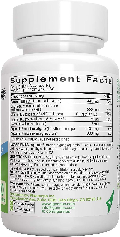 Calcio & Magnesio, Complejo Mineral Marino con Boro, Vitaminas D3 y K2, Vegano, 90 cápsulas: Amazon.es: Salud y cuidado personal