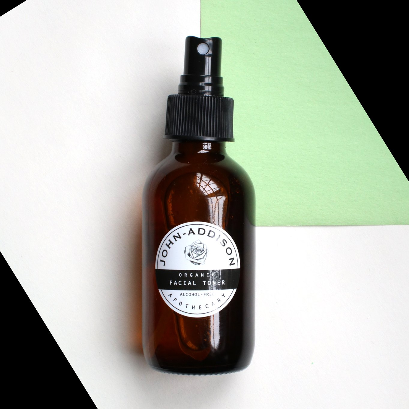 ORGANIC FACIAL TONER by JOHN ADDISON - Amber Glass Bottle With Spray Top - 100ml