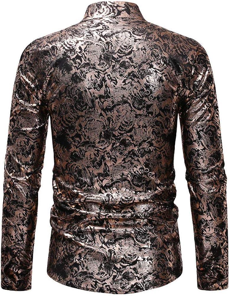 IYFBXl Mens Trend Casual Long Sleeve Shirt Mens Bronzing Flower Shirt ZT-CS53