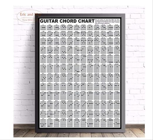 DPFRY Cuadro De Lona Cuadro De Acordes De Guitarra Cartel De Arte ...