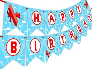 Amazon.com: Rojo avión feliz cumpleaños Banner Pennant ...
