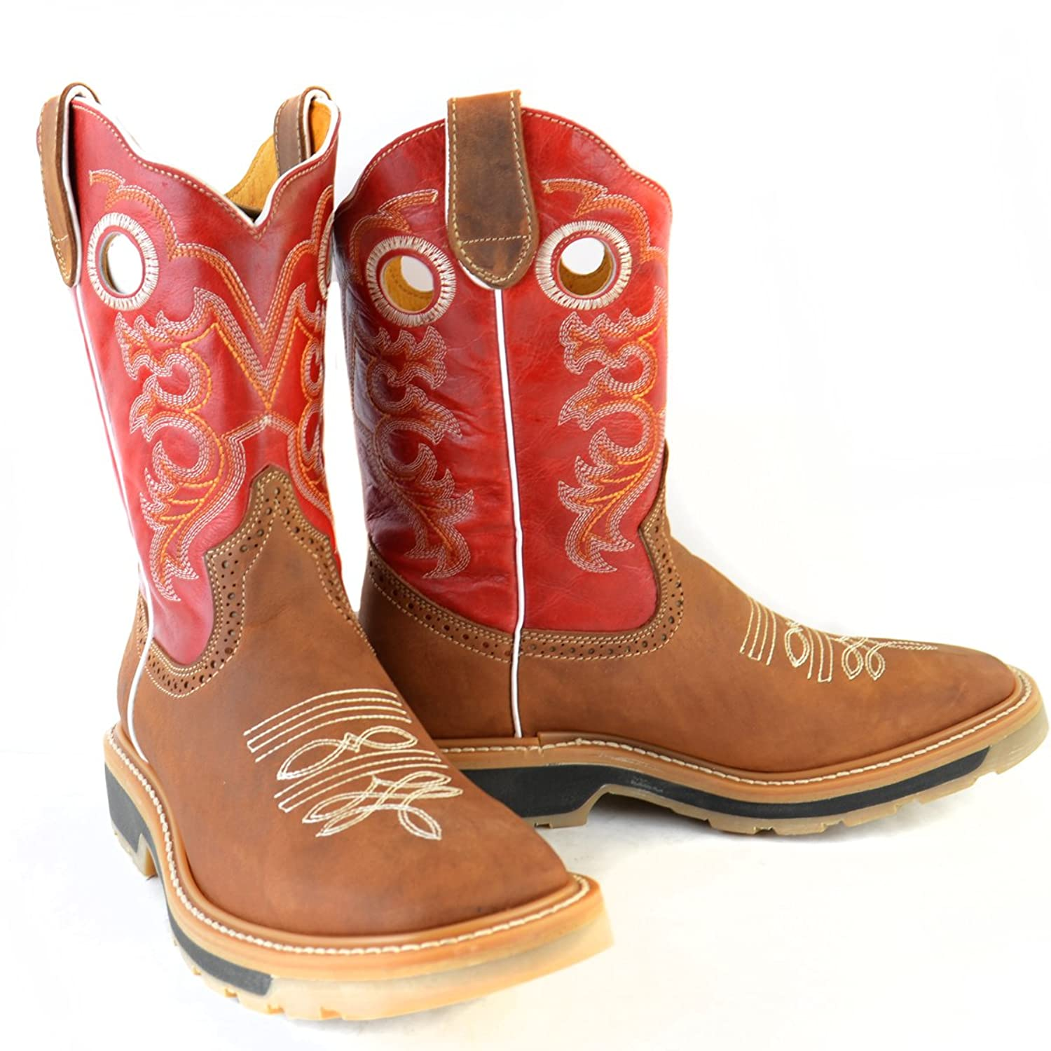 Original Tan Cowhide Leather Rodeo-Toe Western Boot
