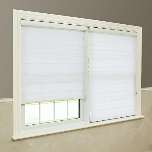 Best Home Fashion Closeout White Premium Duo Roller Window Shade – 32 inch Wide