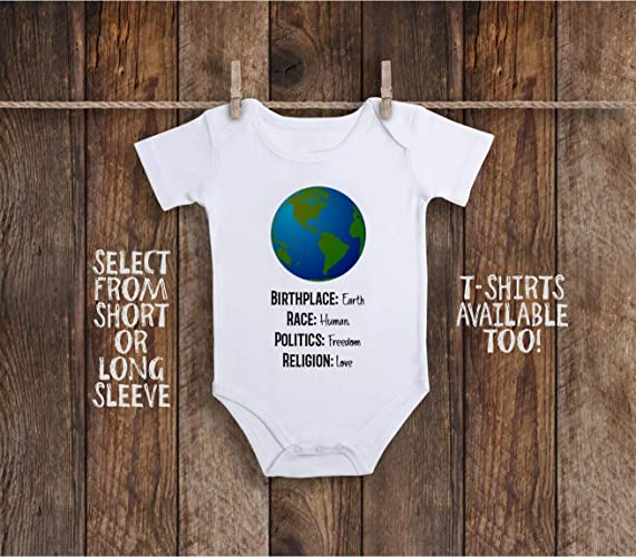 52a10eff Amazon.com: Birthplace Earth Human Race Rights Religion Love Toddler Kids  Tee Shirt or Baby Bodysuit: Handmade