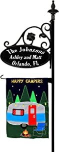 Address America Camping RV Parks Sign - New PP Design - Double Sided Reflective Sign w/Flag Post and Optional Flag - Identify Your Campground Site - Great Gift for Fellow Campers (Happy Camper Flag)