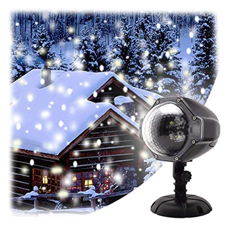 gaxmi led christmas projector lights snowfall decorations outdoor indoor xmas decor light white snowflake flurries rotating