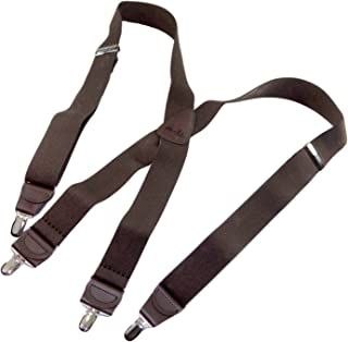 product image for Hold-Up Dark Java Brown X-back Suspenders with Patented No-slip Silver Clips