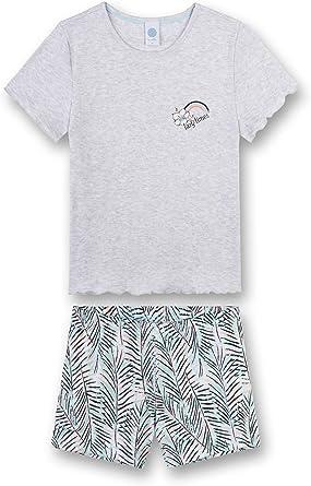 hellgrau Lazy Times 244498 M/ädchen Schlafanzug kurz Sanetta
