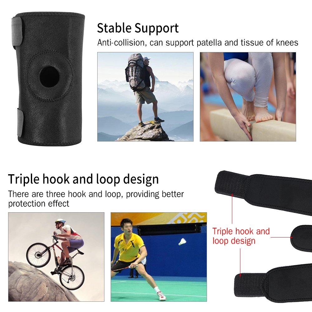 Knee Pads Protector Adjustable Patella Support Belt Sporting Basketball Kneepad Fitness 2 Colors (Black)