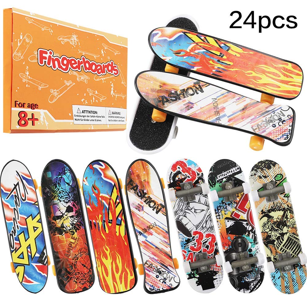 HEHALI 24pcs Mini Finger Skateboards Fingerboards in 4 Styles with Random Pattern