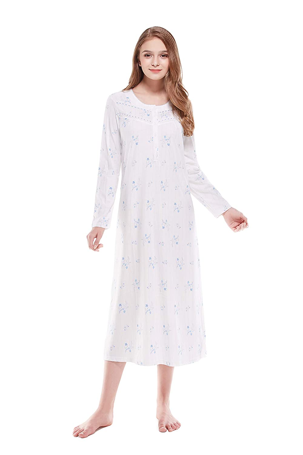 Keyocean Nightgowns for Women 100% Cotton Blue Floral Print Long Sleeves Long Nightgowns White K18015