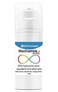 DrFormulas Niacinamide Zinc PCA Serum Moisturizer for Face with Hyaluronic Acid and Aloe Vera   Noncomedogenic Fungal Acne Safe, Dermtella1 oz