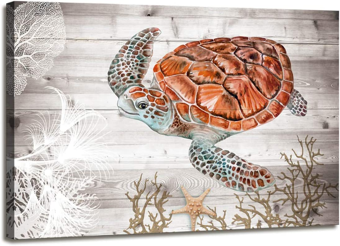Wall Art for Bathroom Ocean Pictures Brown Sea Turtle Decor Costal Beach Canvas Pantings Bathroom for Wall Decorations Pictures Wall Decor Coastal for Office Art Canvas Home Office Wall Decor